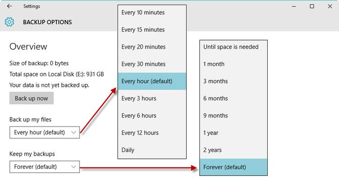 Proteggi i tuoi dati con lo strumento cronologia di Windows 10 - Figura E
