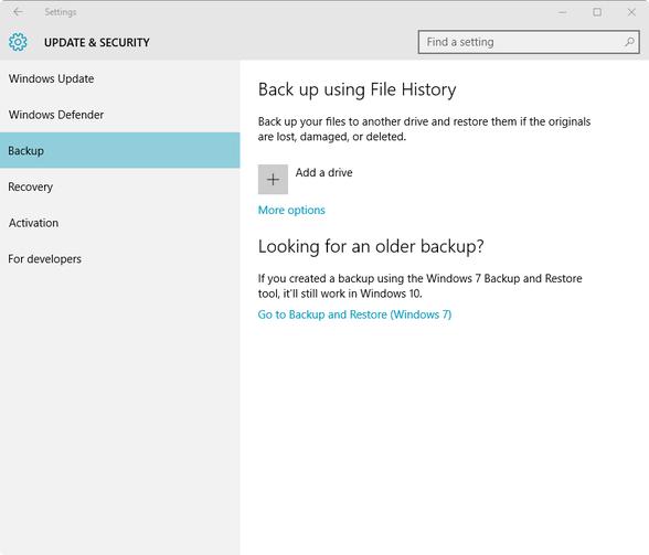 Proteggi i tuoi dati con lo strumento cronologia di Windows 10 - Figura A
