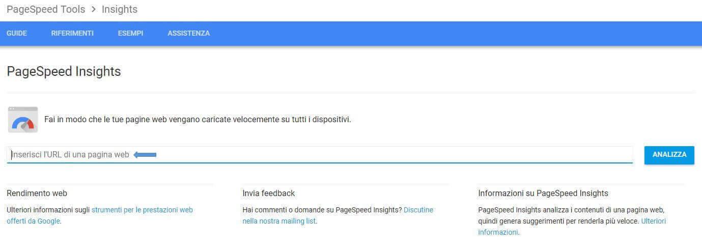 Test della velocità di Google Insight