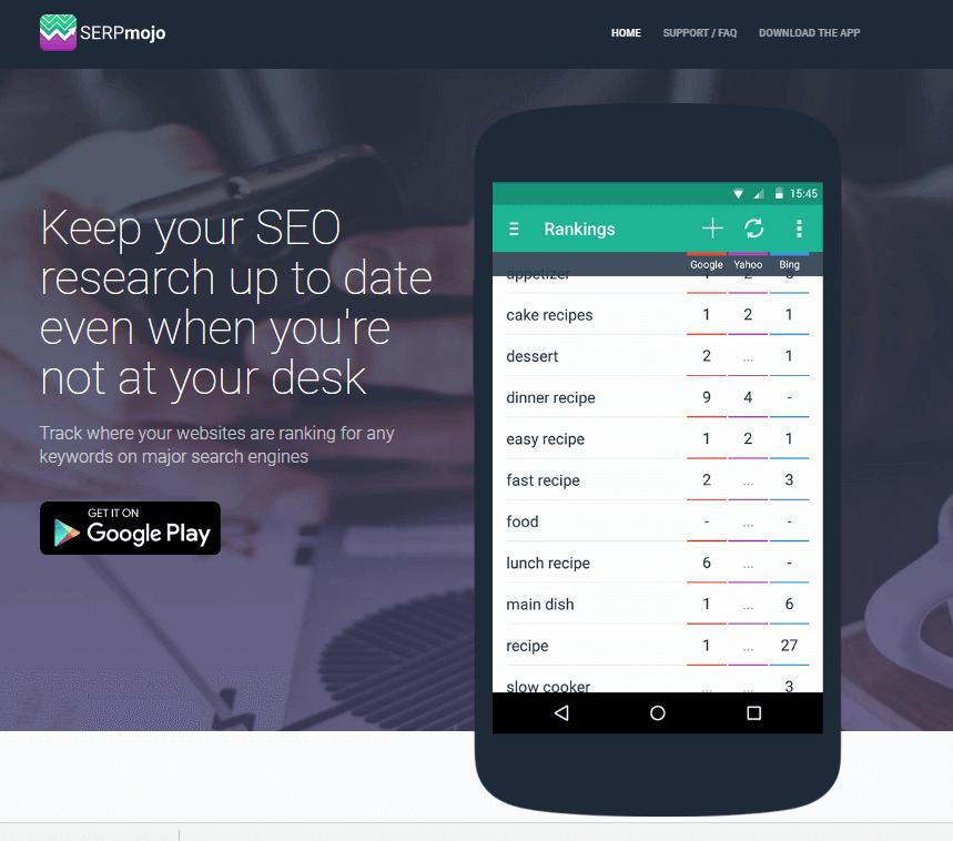Home page dell'App SERPmojo