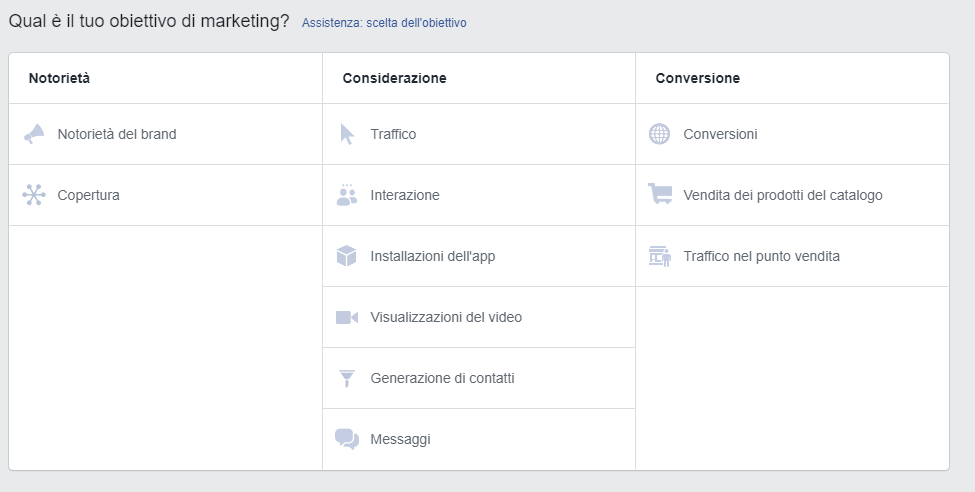 Facebook Obiettivi Marketing