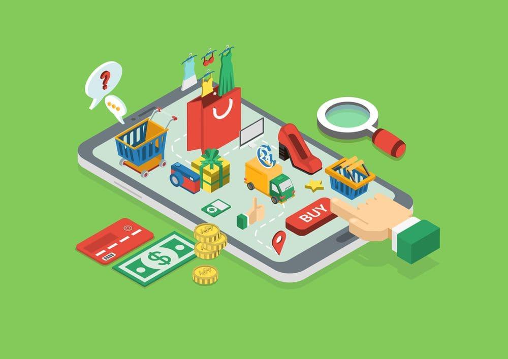 Concetto di shopping online tocco dito pulsante acquista su tablet isometrica