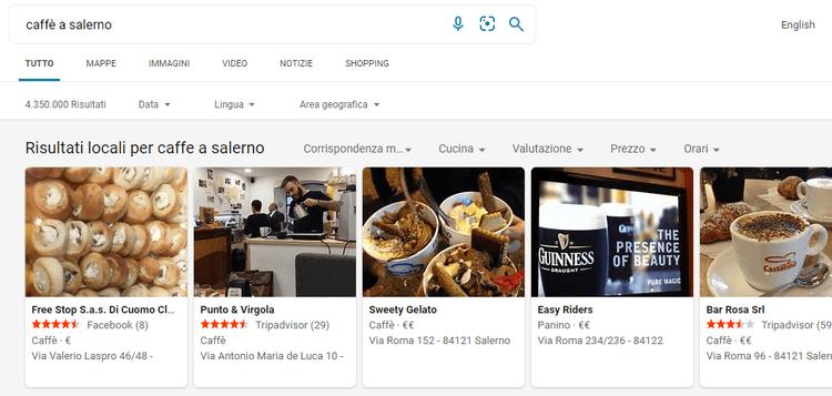 Immagini di vari tipi di caffè nei bar di Salerno