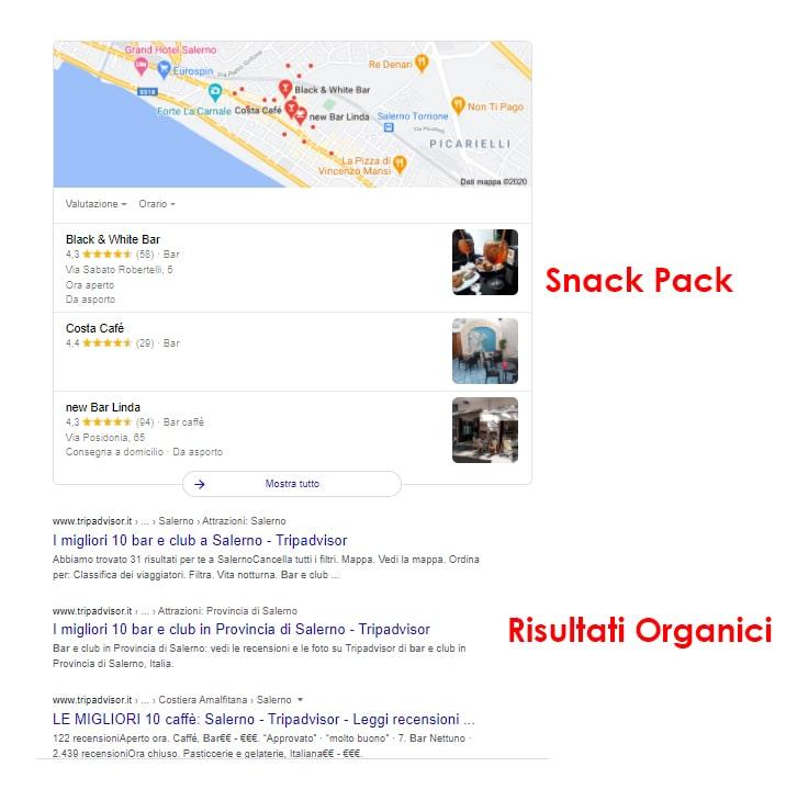 Esempio di local pack di Google