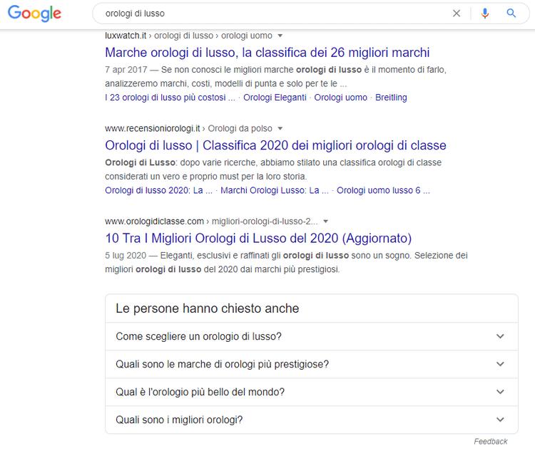 Esempio di risultato di ricerca su Google